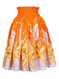 hawaiian pattern skirt hula pa u skirt with spider lily print orange g1457 hulaohana