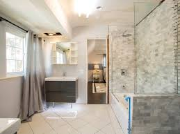 budget bathroom makeovers before and after thrifty low cost glossy light accent for bathroom remodel ideas with small glass window and great grey draw curtain facing long bahtub white tile floor
