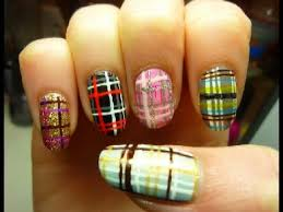 easy spring plaid fashion nail art tutorial youtube