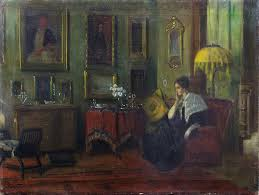 important oil painting 1900 07 interior by american