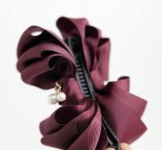 banana hair clip handmade grosgrain ribbon bow fabric flower banana hair clip
