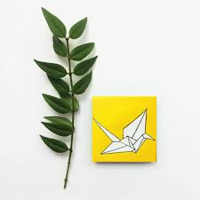 paper crane painting tiny painting origami crane yellow