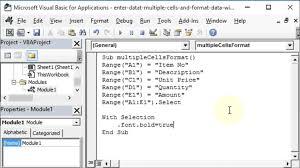 enter data and format multiple excel worksheet cells with vba