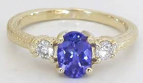 tanzanite gemstone rings images Tanzanite and diamond ring in 14k yellow gold with engraving gr 7080 jpg