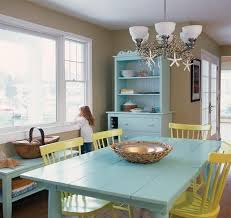 Coastal Dining Room Concept Pastel Blue Dining Table And Hutch With Yellow Chairs In Coastal