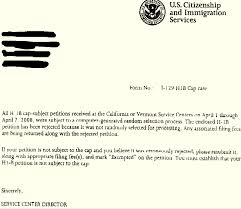 not selected in h1b lottery sample rejection letter from uscis