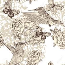 wallpaper with birds vector seamless wallpaper pattern with birds and flowers royalty