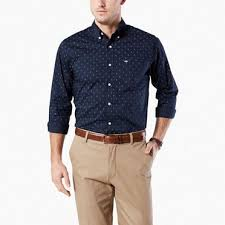 no wrinkle shirt standard fit blue white check dockers