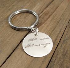 sterling key rings images Mens personalized gift actual handwriting keychain jpg