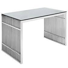 Steel Office Desks Gridiron Stainless Steel Office Desk Lexmod
