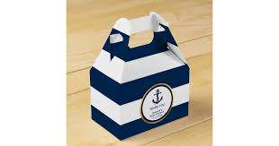 Blue Favor Boxes by Lovely Custom Nautical Navy Blue Gold Baby Shower Favor Box