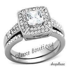 stainless steel wedding ring set ebay