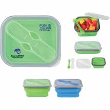 Utensil Storage Container Promotional Collapsible Food Container With Dual Utensils With