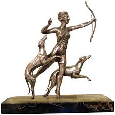 art deco dog ring holder images Art deco statue of diana and two dogs in silver for sale at 1stdibs jpg