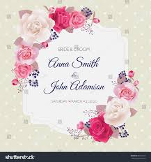 Beautiful Invitation Card Wedding Invitation Cards Rosesbeautiful White Pink Stock Vector