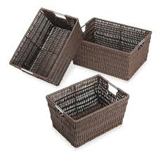 how to clean wicker baskets amazon com whitmor rattique storage baskets set of 3 java home