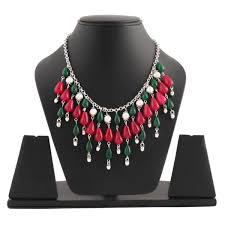 pink chain necklace images German silver pink green stones polki set chain necklace jpg