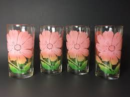vintage federal drinking glasses pink cosmo flower tumblers