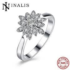 sted rings brand flower shape popular party finger rings charm aaa cz