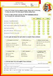 english teaching worksheets listening tests