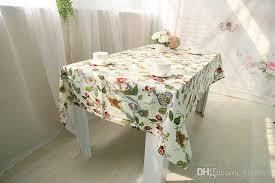 farmhouse style table cloth white printed cotton fabric cloth with bird flowe tree farmhouse