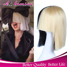 blonde wig halloween costume short two tone half platinum blonde and black straight cosplay sia