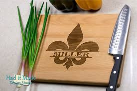 cutting board personalized fleur de lis cutting board personalized monogram