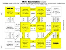 mole conversions maze for review or assessment by science from the