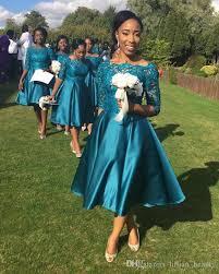 teal bridesmaid dresses 2017 lace top tea length country garden teal navy blue bridesmaid