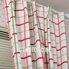 cotton chi temporary plaid curtains with metal hook style for