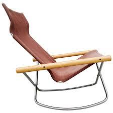 Rocking Folding Chair Folding Sling Seat Rocking Lounge Chair By Takeshi Nii At 1stdibs