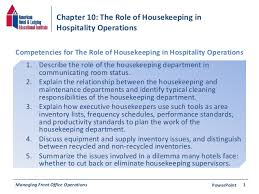 chapter 10 the role of housekeeping in hospitality operations