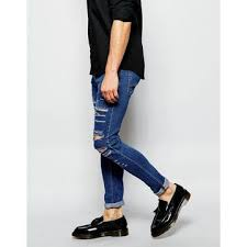 Ripped Knee Jeans Mens Japanese Jeans Brand Super Skinny Fit Distressed Denim Jeans For