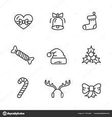 theme line winter winter theme set of icons vector illustration stock vector