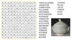 les blogs de cuisine jeu mots mêlés vaisselle le de ludovica
