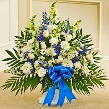 basket arrangements blue white sympathy floor basket flowers the sympathy store