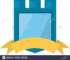 blue and yellow ribbon blue shield yellow ribbon badge vector illustration eps 10 stock