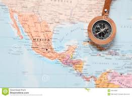 Juarez Mexico Map by Travel Destination Mexico Map With Compass Stock Photo Image