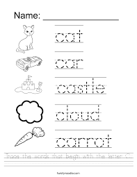 free printable word tracing sheets trace the words that begin with the letter c worksheet twisty noodle