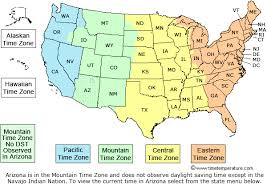 united states map with state names and time zones time zone