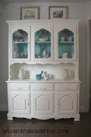 hutch and cabinetwhite with aqua blue by cameobliss on etsy