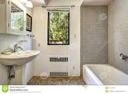 Trim For Bathroom Mirror by Old Bathroom With Grey Tile Wall Trim Stock Photo Image 44715853