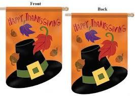 thanksgiving house flags pilgrim hat 2 sided applique thanksgiving house flag size 28 x44