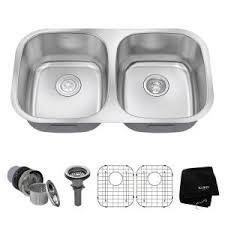 Stainless Steel Undermount Kitchen Sink by Kohler Ballad Undermount Stainless Steel 32 In 50 50 Double Basin