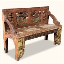 antique hand carved wooden bench with back and arms of astonishing