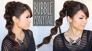 hairstyles easy to do for medium length hair bubble ponytail hairstyle medium to long hair tutorial youtube
