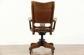Antique Leather Swivel Chair Sold Oak Leather Swivel Adjustable Antique Desk Chair Signed For