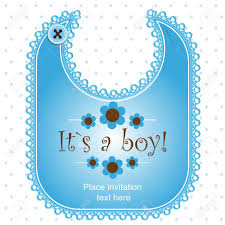 baby shower card with a bib for a royalty free cliparts