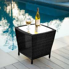 Glass Top Side Table Weston Outdoor Wicker Side Table With Glass Top By Christopher
