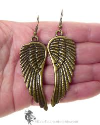 wing earrings brass large angel wing earrings angel jewelry by silver enchantments